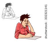 man is writing something ... | Shutterstock . vector #332321141