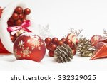 christmas ball with red bow and ... | Shutterstock . vector #332329025