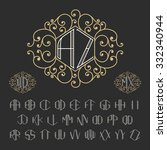 two letters decorative monogram ... | Shutterstock .eps vector #332340944