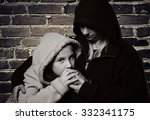 homeless mother with her... | Shutterstock . vector #332341175