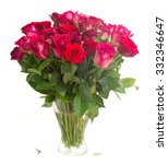 Stock photo bunch of red and pink roses in vase isolated on white background 332346647