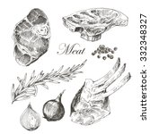 vector steak meat hand drawing... | Shutterstock .eps vector #332348327