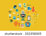 illustration of podcast flat... | Shutterstock .eps vector #332358305