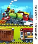 cartoon trains scene  ... | Shutterstock . vector #332365451