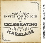 vintage wedding invitation on... | Shutterstock .eps vector #332374475
