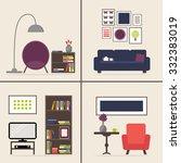 living room interior set with...   Shutterstock . vector #332383019