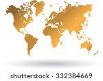 gold world map | Shutterstock .eps vector #332384669