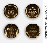 set of round stickers beer