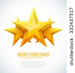 three christmas golden stars.... | Shutterstock .eps vector #332437517