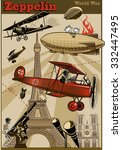 vintage world war biplanes and... | Shutterstock .eps vector #332447495