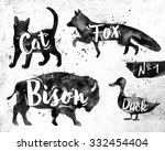 silhouettes of animal cat  fox  ... | Shutterstock .eps vector #332454404