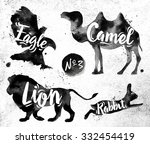 silhouettes of animal camel ... | Shutterstock .eps vector #332454419