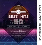 retro 80s hits party poster | Shutterstock . vector #332454995