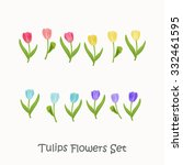 colorful tulips flowers... | Shutterstock .eps vector #332461595