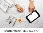 architect working on blueprint. ... | Shutterstock . vector #332462477