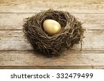 Golden Egg In Nest On Vintage...