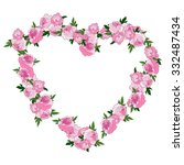pink floral heart shape wreath... | Shutterstock .eps vector #332487434