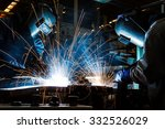 worker with protective mask... | Shutterstock . vector #332526029