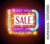 retro neon sale banner. shining ... | Shutterstock .eps vector #332526461