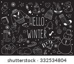 hello winter. vector doodle... | Shutterstock .eps vector #332534804