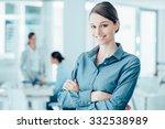 smiling female office worker... | Shutterstock . vector #332538989