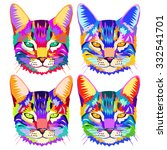 Set Of Pop Art Cats  Geometric...