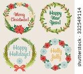 set of christmas wreaths | Shutterstock .eps vector #332549114