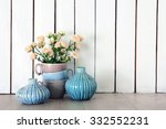 Home Decor And Roses On Wooden...