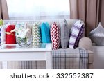 sofa with beautiful colourful... | Shutterstock . vector #332552387