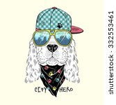 cute portrait of doggy dressed... | Shutterstock .eps vector #332553461