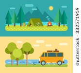 camp concept. tourist tent on... | Shutterstock .eps vector #332571959