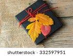 vintage gift box on wooden... | Shutterstock . vector #332597951