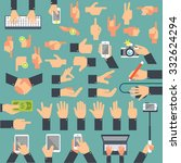 a large set of flat icons hand... | Shutterstock .eps vector #332624294