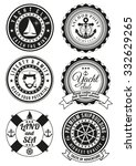 set of black yacht club and sea ... | Shutterstock .eps vector #332629265