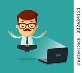 cute cartoon businessman... | Shutterstock .eps vector #332634131