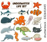 cartoon funny underwater life... | Shutterstock .eps vector #332641445