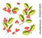 christmas mistletoe holiday set.... | Shutterstock .eps vector #332652305