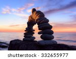 curve of pebbles in the form of ... | Shutterstock . vector #332655977