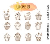 vector cupcake illustration.... | Shutterstock .eps vector #332657621