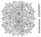Stock vector floral ornament art mandala style black and white background could be use for coloring book 332659097
