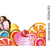 border of sweets  cakes  fruit  ... | Shutterstock .eps vector #33266182