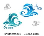 Stormy Sea Blue Waves Icon Wit...