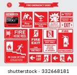 fire emergency signs  emergency ... | Shutterstock .eps vector #332668181