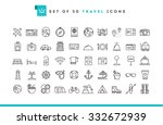 set of 50 travel icons  thin...