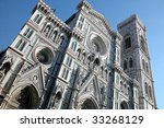 Basilica Santa Maria del Fiore and Giotto bell tower in Florence, Italy - stock photo