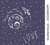 card love you to the moon and... | Shutterstock .eps vector #332684099