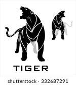 tiger. standing tiger. fearless ... | Shutterstock .eps vector #332687291