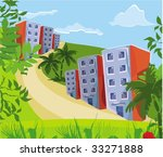 rising road to a resort city | Shutterstock .eps vector #33271888