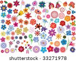 set of colorful vector floral... | Shutterstock .eps vector #33271978