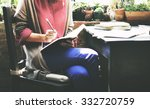 woman working writing notes... | Shutterstock . vector #332720759